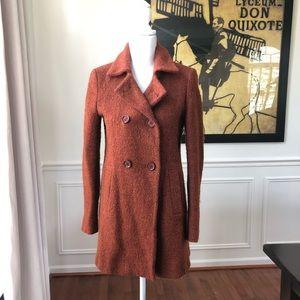 Zara Basic Pea Coat Winter Rusty Orange Amber M